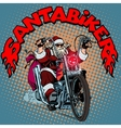 Santa Claus biker motorcycle Christmas gifts vector image