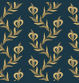 seamless floral golden and blue pattern vector image