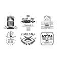 set logos for smoking and hookah club vector image