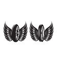 set monochrome patterns - wheel with wings vector image vector image