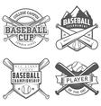set vintage baseball labels and badges vector image vector image