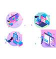 set web design isometry templates online vector image