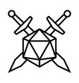 swords crossed with 20 sided d20 or 20d dice icon vector image vector image