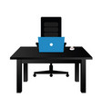 table office with laptop vector image vector image
