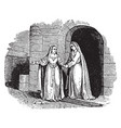 the visitation - mary departs from elizabeths vector image vector image