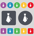 tie icon sign A set of 12 colored buttons Flat vector image vector image
