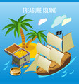 treasure island isometric game background vector image vector image