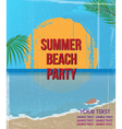 vintage beach party poster vector image vector image