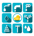 water symbols set aqua icons in blue squares vector image