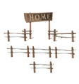 Wooden fence with a sign Home vector image
