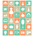 White Silhouette Wedding Icons vector image