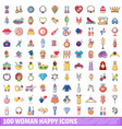 100 woman happy icons set cartoon style vector image vector image