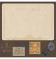 antique postcards in with set of postal stamps vector image vector image