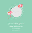 baby arrival announcement flamingo photo frame vector image vector image