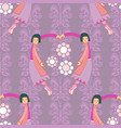 ballerina pattern in pink and purple with flowers vector image vector image