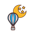 balloon air hot with moon vector image vector image
