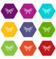 butterfly with rhombus on wings icons set 9 vector image vector image