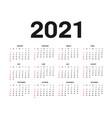 calendar 2021 template template in black vector image vector image