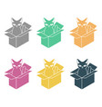 cat in box set pet in cardboard box vector image vector image