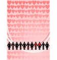 Chain man and woman with hearts vector image