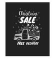 christmas sale with pickup and pine tree vector image