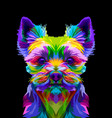 colorful yorkshire terrier dog on pop art style vector image vector image