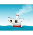 Cute small cartoon cruise liner vector image