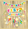 festa junina logotype with flags on texture vector image