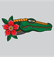 flash tattoo head crocodile vector image