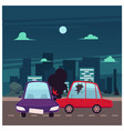 flat cartoon car accident scene vector image vector image