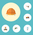 flat icons van bulb handcart elements vector image vector image