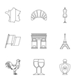France icons set outline style vector image vector image