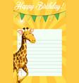 giraffe on birthday note template vector image vector image