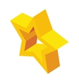 Glossy golden star icon isometric 3d style vector image