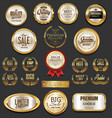 golden badges and labels collection 4 vector image vector image