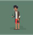 grumpy man in underwear bathrobe and slippers vector image vector image