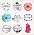 happy birthday greeting card design elements vector image vector image