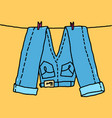 jeans hang on a rope vector image vector image