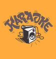 Karaoke lettering music design with a speaker and