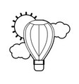 line air balloon in the sky with clouds and sun vector image vector image