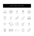 line icons set fast food pack vector image