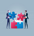 modern robot co-working with businessman making vector image vector image