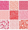 Nine baby girl pink seamless patterns backgrounds vector image