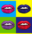 Open hot sexy wet red lips with teeth pop art set