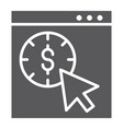 pay per click glyph icon seo and money pointer vector image vector image