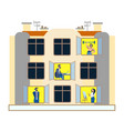 people in windows an apartment building day vector image vector image