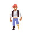 pirate or sailor character with leg limb flat vector image