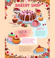 poster for bakery shop cakes and desserts vector image vector image