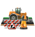 Road Construction with Road Roller vector image vector image