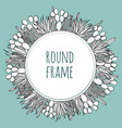 round succulent cactus outline frame vector image vector image